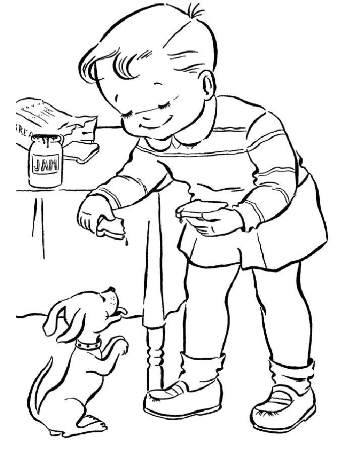 Раскраска  щенок, мальчик дрессирует щенка. Скачать Щенок.  Распечатать Щенок
