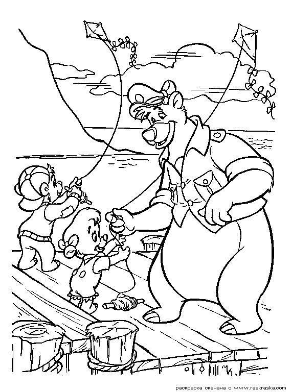 Раскраска  Дети запускают змеев.  Воздушный змей,  из мультфильма Чудеса на виражах, Tales Spin, Baloo, Kit, Балу. Скачать .  Распечатать