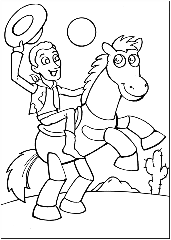 Раскраска Вуди и конь. Скачать .  Распечатать
