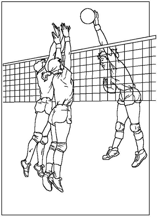 Раскраска волейбол, спорт, спортивная игра, ребята играют в волебол, мальчик забивает мяч. Скачать Волейбол.  Распечатать Волейбол