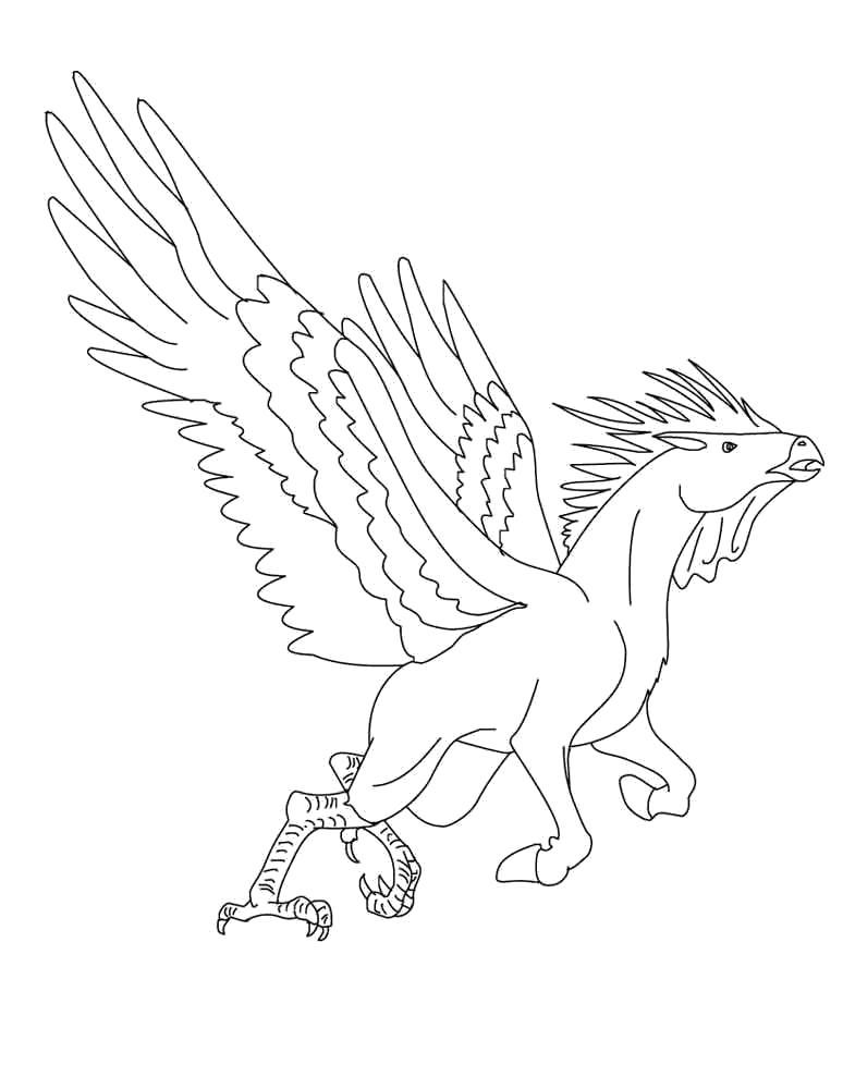Раскраска пегас с лапами птицы. Скачать Лошади.  Распечатать Лошади