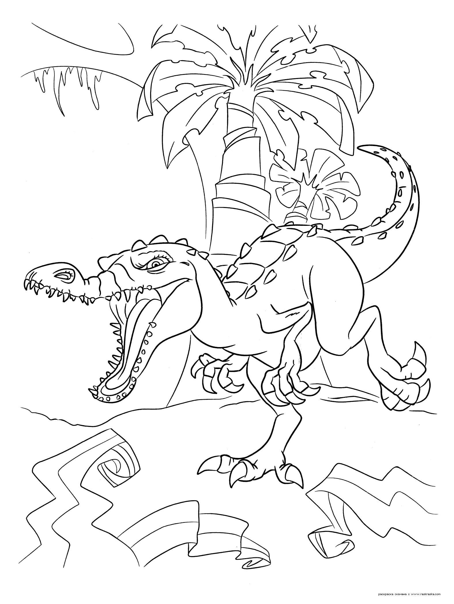 Раскраска  Руди.  Гигантский динозавр Руди, белый барионикс, гроза и ужас джунглей . Скачать динозавр.  Распечатать динозавр