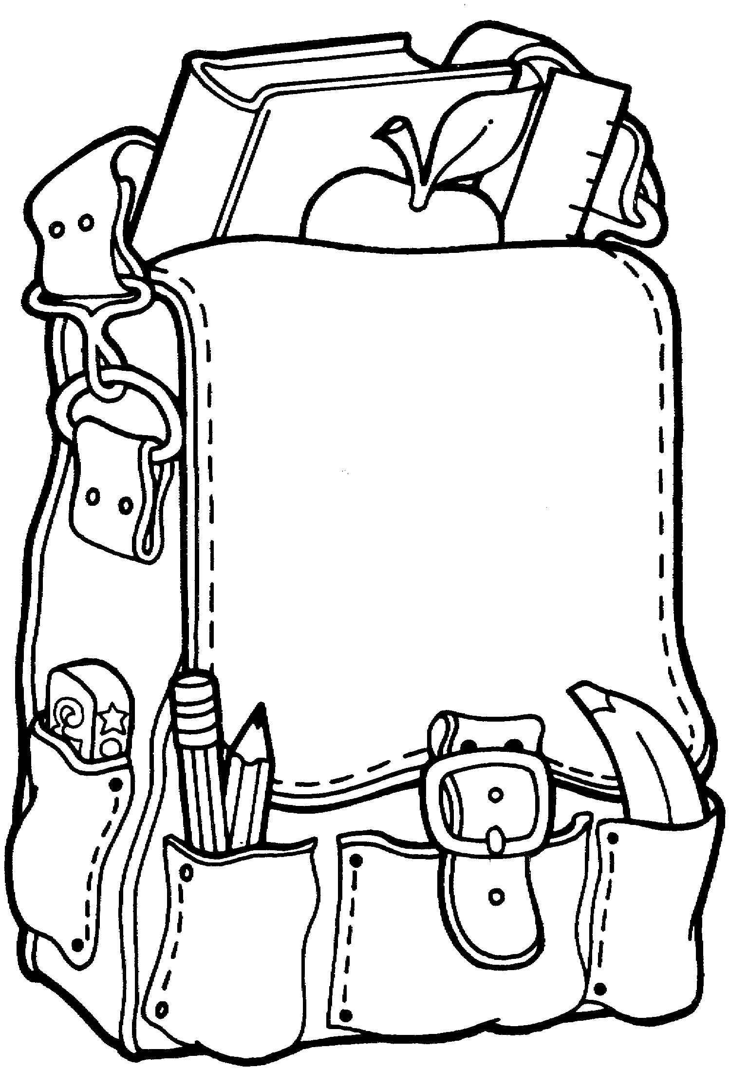 Раскраска Школьный рюкзак. Скачать .  Распечатать
