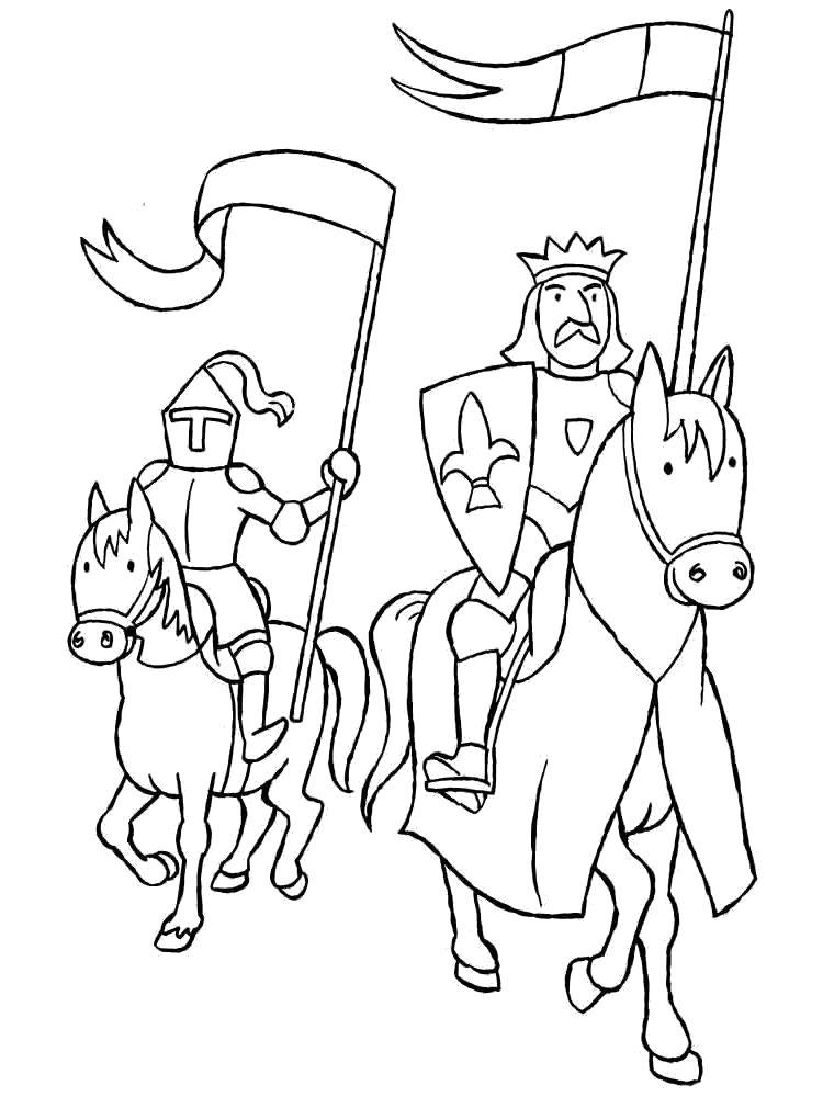 Раскраска Армия. Скачать рыцари.  Распечатать рыцари