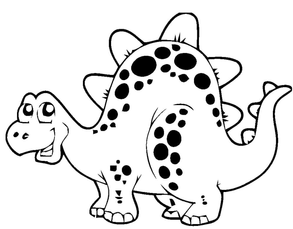 Раскраска Смешной динозаврик. Скачать .  Распечатать