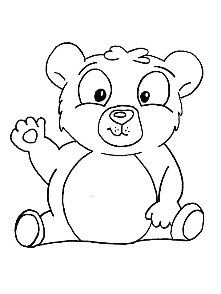 Раскраска  Приветливый медведь. Скачать медведь.  Распечатать медведь