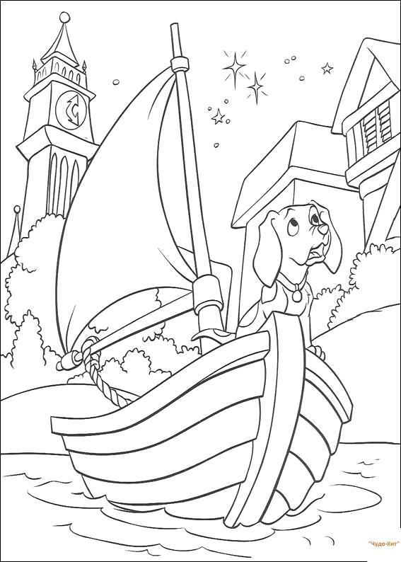 Раскраска собака плывет на кораблике. Скачать 101 далматинец.  Распечатать 101 далматинец