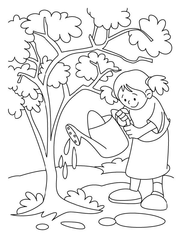 Раскраска Девочка поливает дерево из лейки. Скачать деревья.  Распечатать деревья
