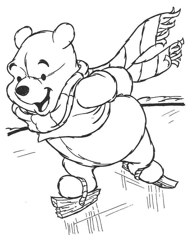 Название: Раскраска Винни на коньках. Категория: Герои Диснея. Теги: Герои Диснея.