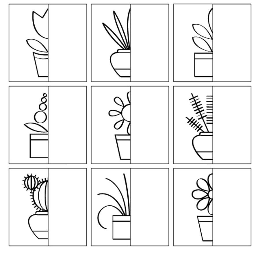 Раскраска  дорисуй по клеточкам дорисуй комнатные растения. Скачать дорисуй.  Распечатать Дорисуй по образцу