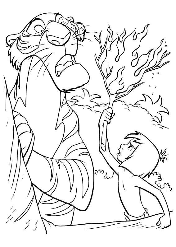 Раскраска Шерхан боится огня. Скачать книга джунглей.  Распечатать книга джунглей