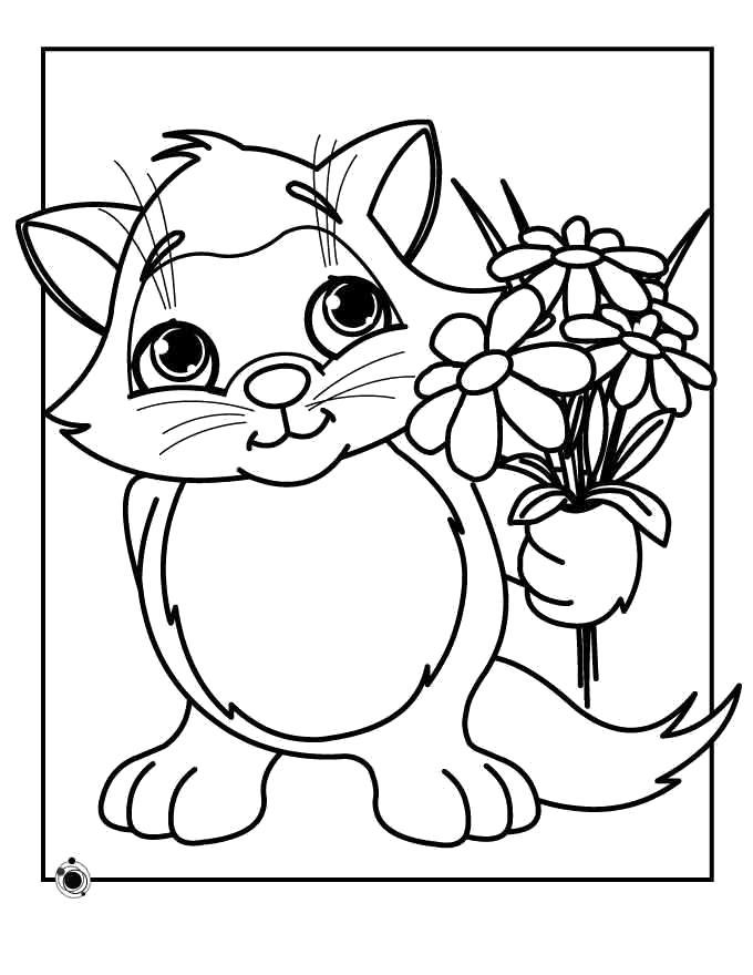 Раскраска Дарит цветы. Скачать Котенок.  Распечатать Домашние животные
