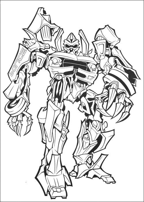 Раскраска  Широкий робот. Скачать Трансформеры.  Распечатать Трансформеры