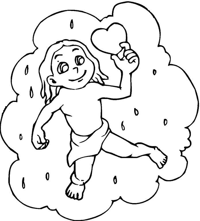Раскраска Купидон. Скачать облако.  Распечатать облако