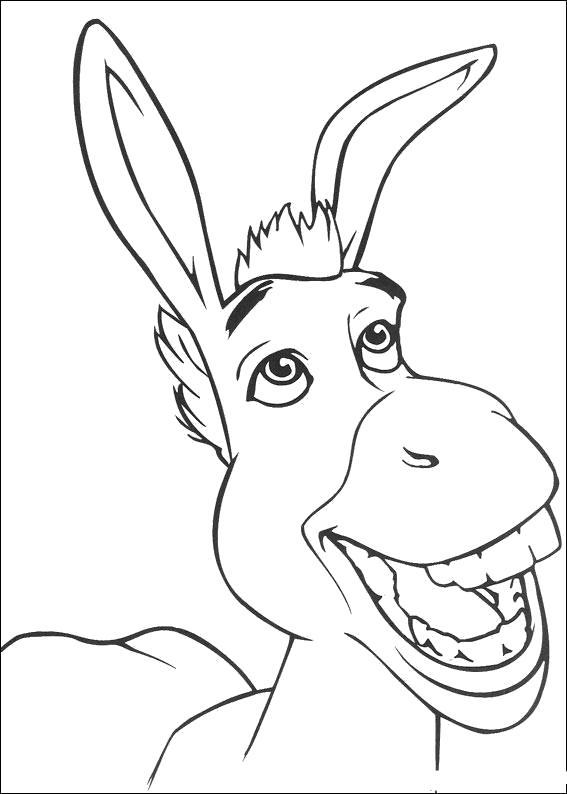 Раскраска Осел из мультфильма Шрек. Скачать шрек.  Распечатать шрек