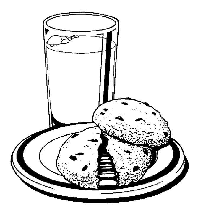 Раскраска Печенье с молоком. Скачать .  Распечатать