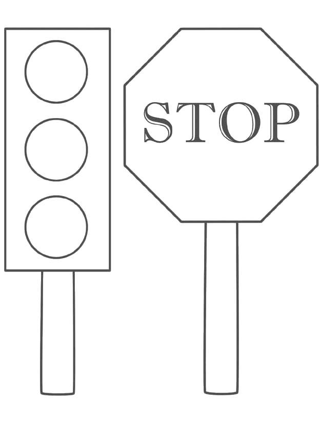Раскраска  Знаки . Скачать Правила дорожного движения.  Распечатать Правила дорожного движения