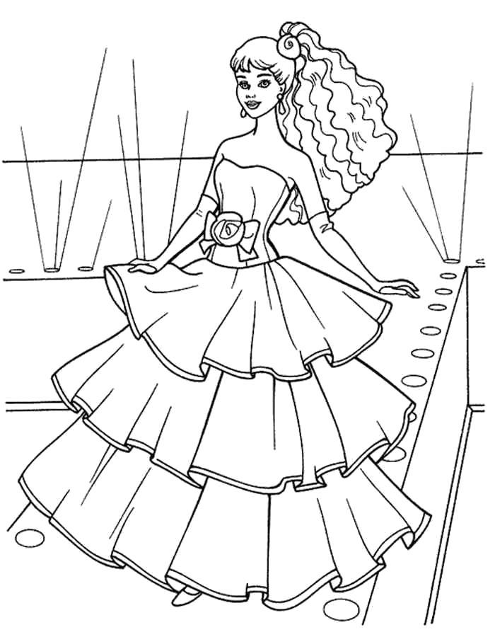 Раскраска  Барби модница. Скачать барби.  Распечатать барби