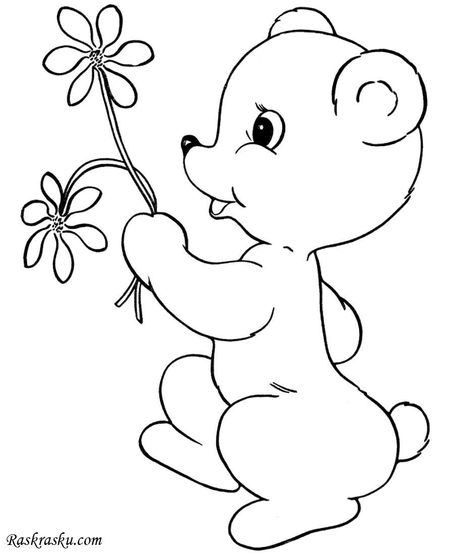 Раскраска Медвежонок на День Святого Валентина, зайчик с цветочком. Скачать день Святого Валентина.  Распечатать день Святого Валентина
