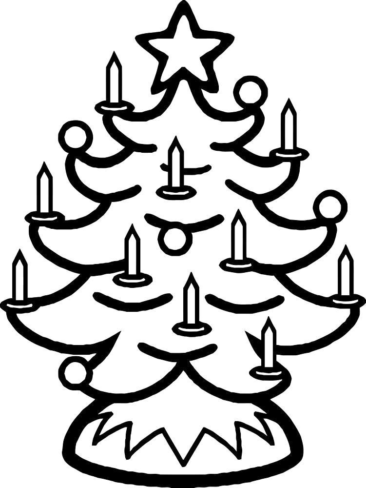 Раскраска Новогодняя елка. Скачать Елка.  Распечатать Новый год