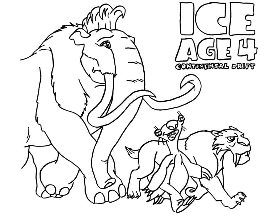 Раскраска ледниковый период, тигр сид, ленивец, мамонт мэни. Скачать .  Распечатать
