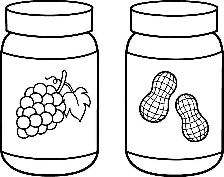 Раскраска Банки с арахисом и ягодами. Скачать .  Распечатать