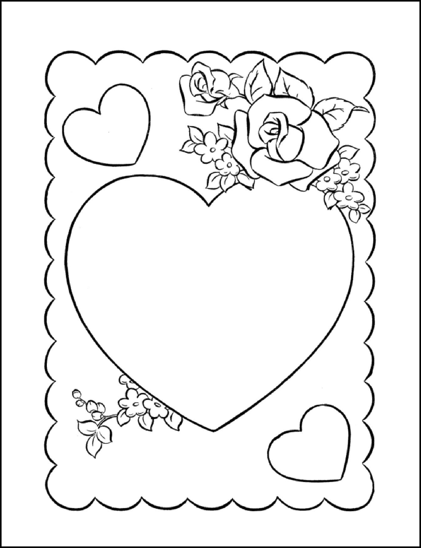 Раскраска  открытка на день влюбленных. Скачать день Святого Валентина.  Распечатать день Святого Валентина