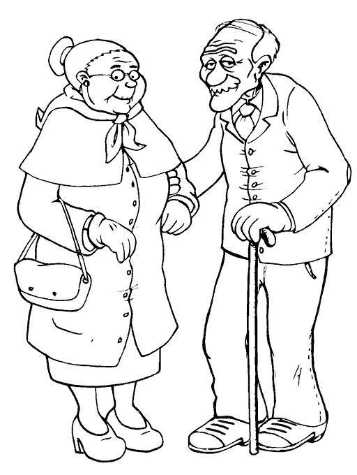 Раскраска Дед и бабуля. Скачать .  Распечатать