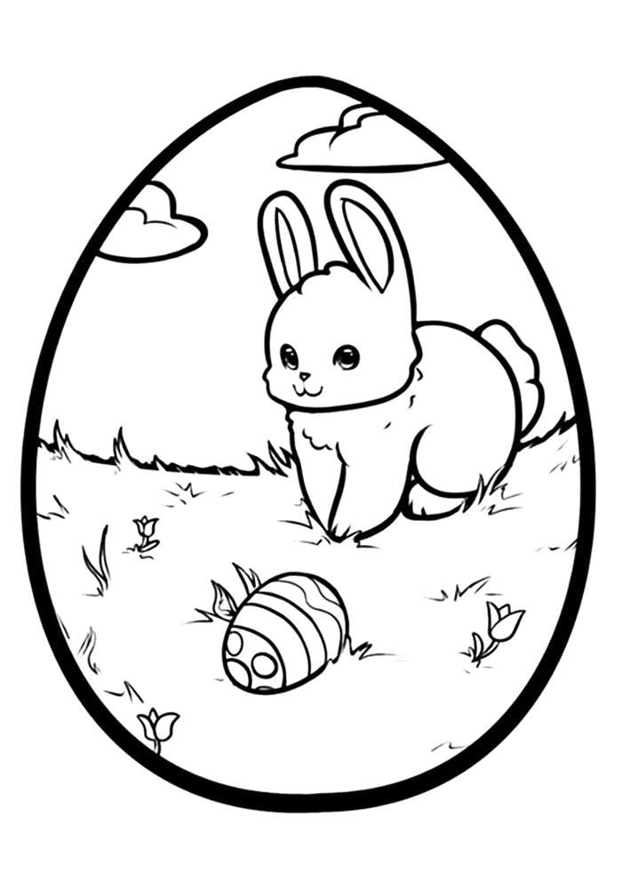 Раскраска  пасхальное яйцо. Скачать Пасха.  Распечатать Пасха