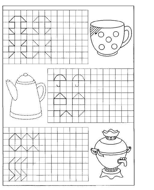 Раскраска Пропис, , штриховки, кружка, чайник, самовар . Скачать штриховки.  Распечатать Прописи с рисунками