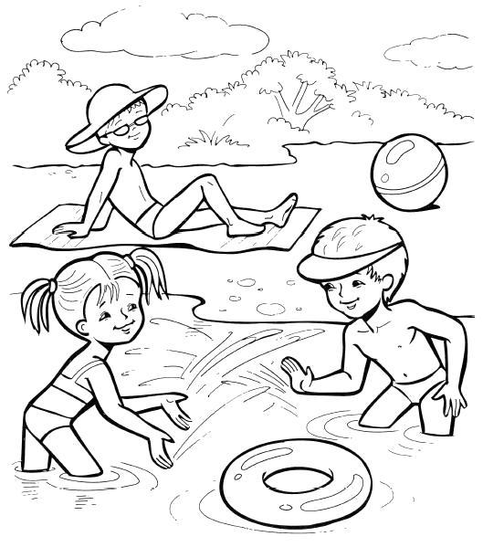 Раскраска дети играют с кругом, мальчик лежит на берегу. Скачать Лето.  Распечатать Лето