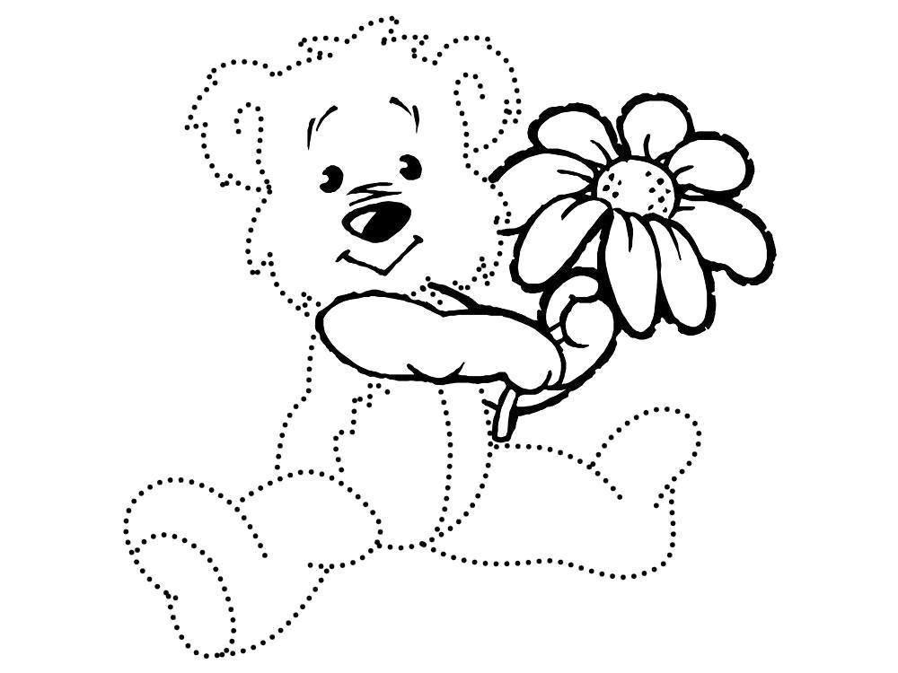 Раскраска Мишка с ромашкой. Обведи по точкам. Скачать по точкам.  Распечатать по точкам