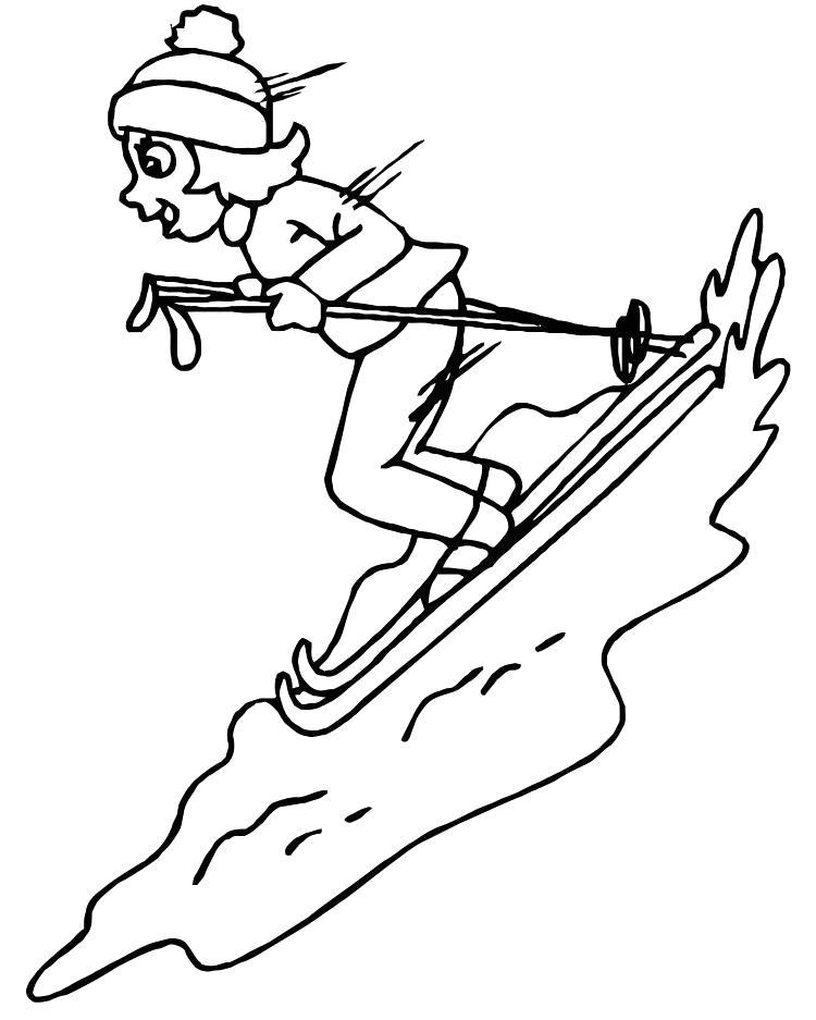 Раскраска спуск на лыжах. Скачать Зимние.  Распечатать Зимние