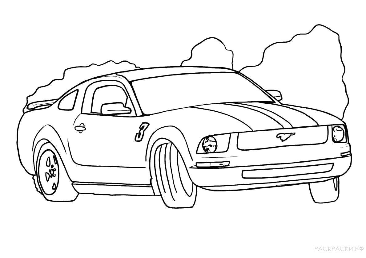 Раскраска  машина Форд Мустанг 2. Скачать Машина.  Распечатать Машина