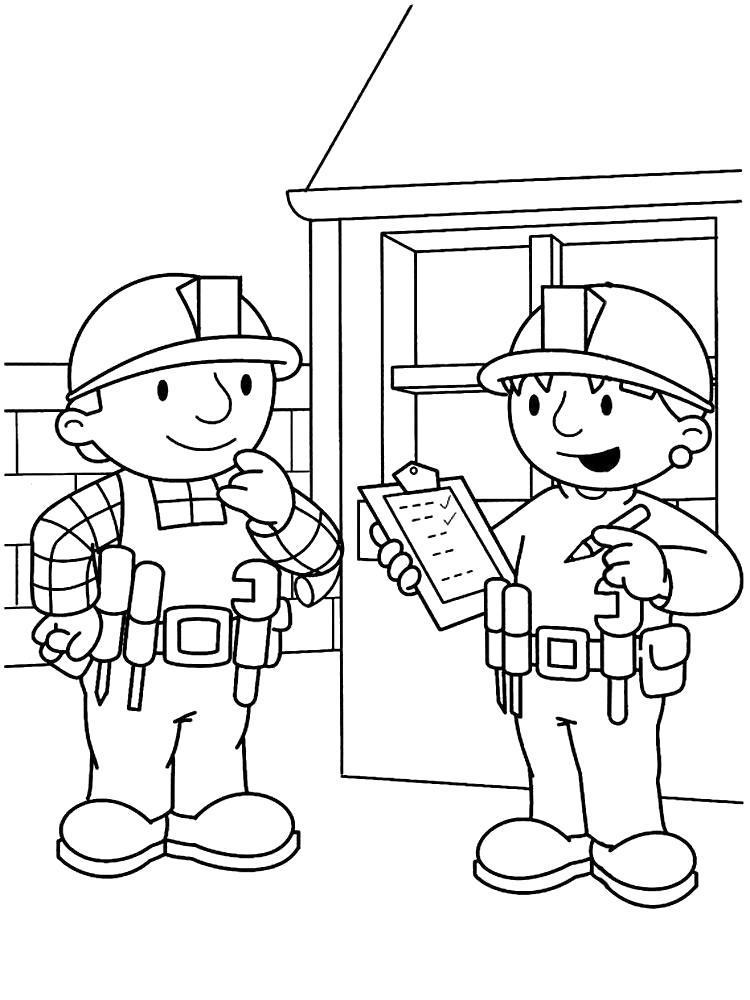 Раскраска Изучаем с малышом цвета с помощью раскрасок с Бобом строителем. Скачать .  Распечатать