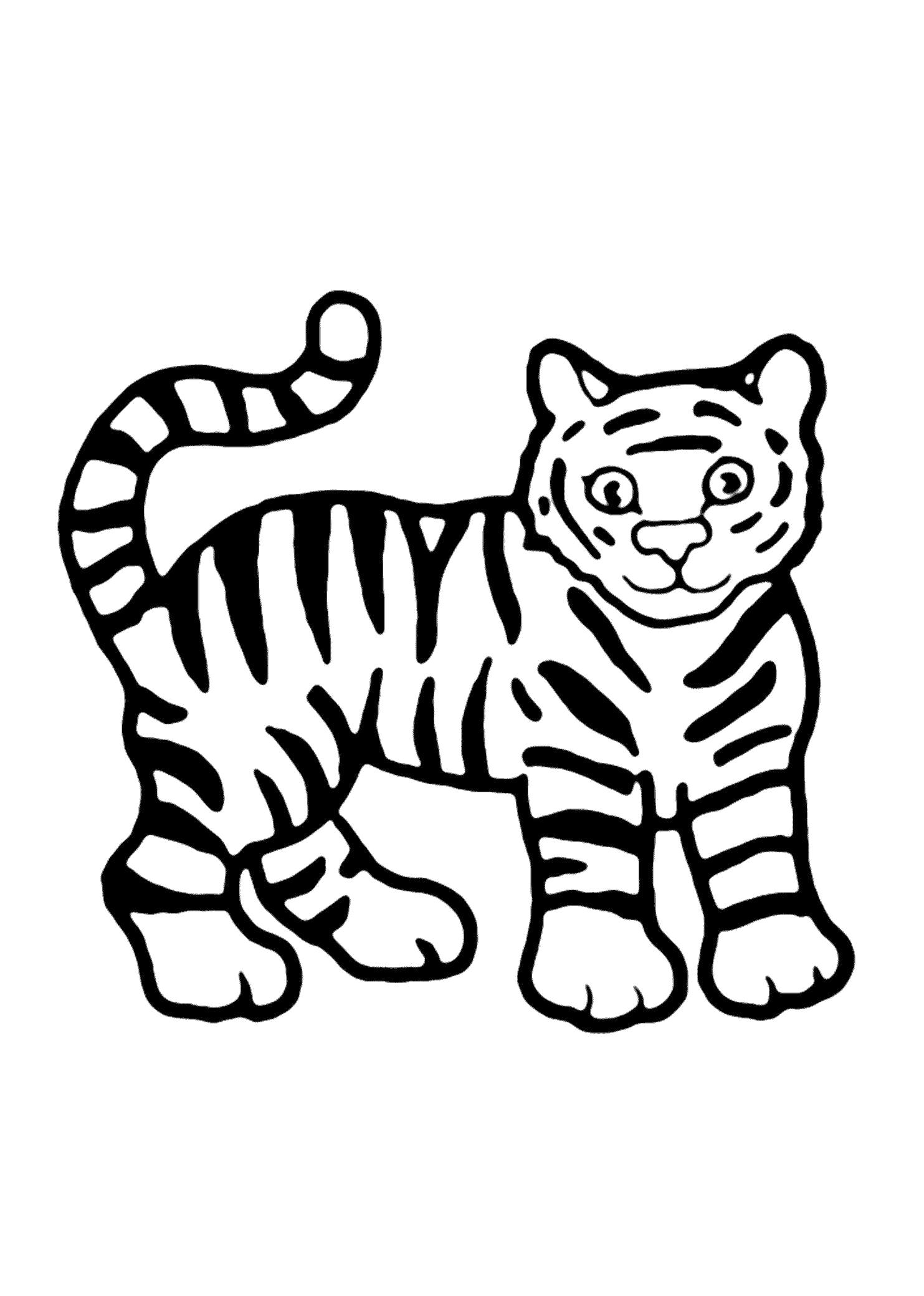 Раскраска  для малышей Тигренок (Распечатать/скачать) . Скачать Тигр.  Распечатать Дикие животные
