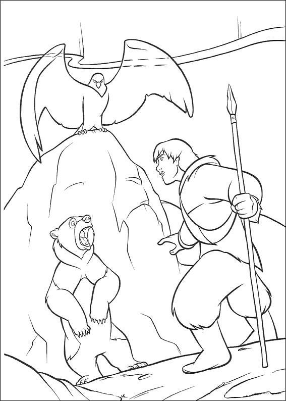 Раскраска Кенай, медвежонок и орел, братец медвежонок. Скачать Братец медвежонок.  Распечатать Братец медвежонок