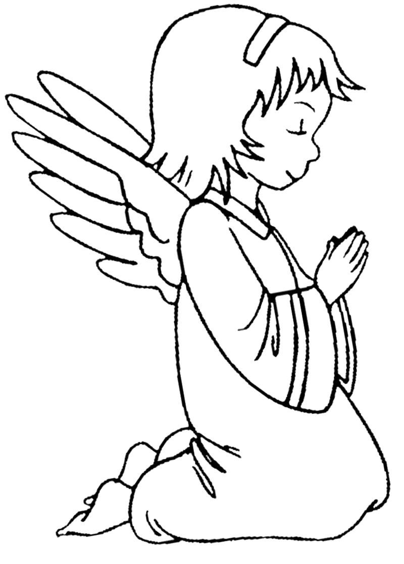 Раскраска Раскрашиваем с ребенком черно-белые картинки ангелочки. Скачать ангел.  Распечатать мифические существа