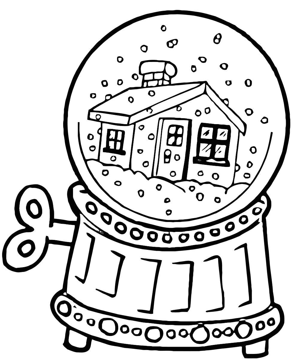 Раскраска игрушка, заводная игрушка, шар со снегом, дом в шаре, снег в шаре. Скачать .  Распечатать