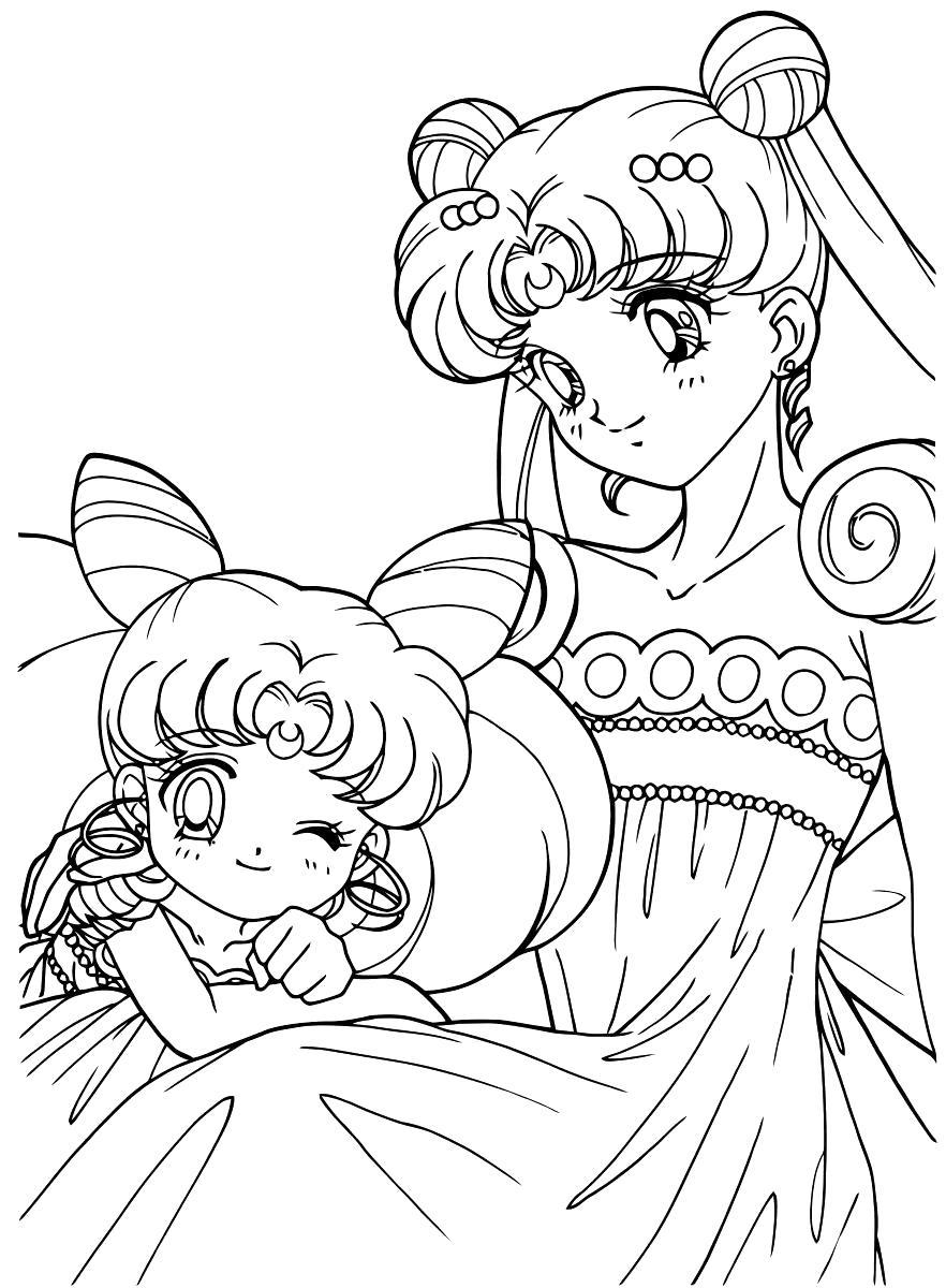 Раскраска Сейлор мун и малышка. Скачать Сейлор Мун.  Распечатать Сейлор Мун