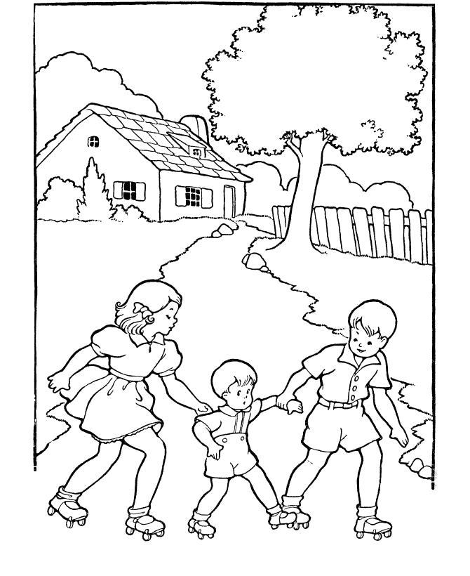 Раскраска мальчик и девочка учат мальчика кататься на роликах . Скачать Лето.  Распечатать Лето