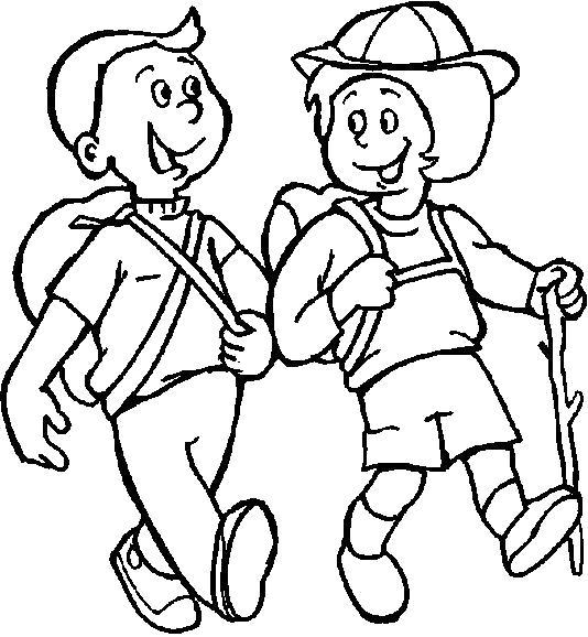 Раскраска  лето праздник 1 июня день защиты детей дети поход лето . Дети идут в поход. Скачать Лето.  Распечатать Лето
