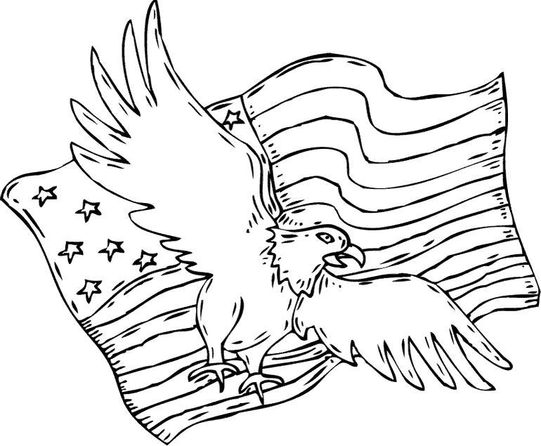 Раскраска Орел с флагом США. Скачать .  Распечатать