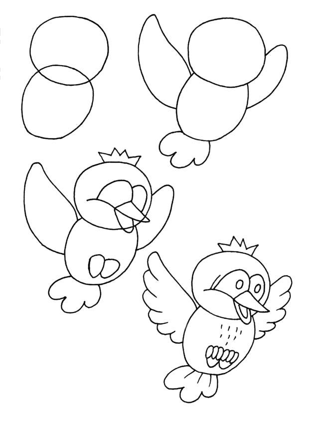 Раскраска  поэтапно птичка. поэтапно, нарисовать. Скачать Сова.  Распечатать Сова
