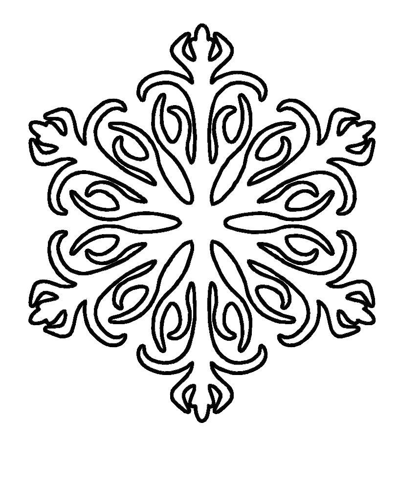 Раскраска  снежинки . Скачать Снежинки.  Распечатать Новый год