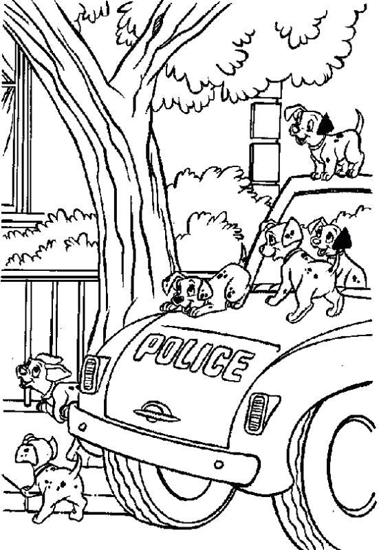 Раскраска собаки на машине. Скачать 101 далматинец.  Распечатать 101 далматинец