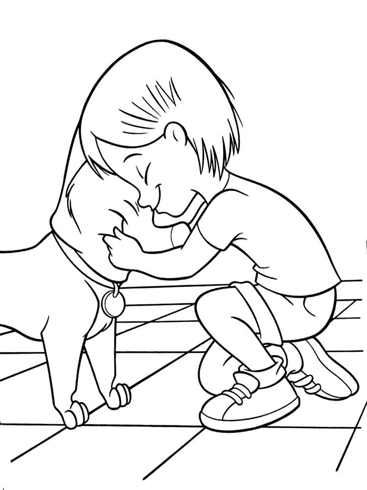 Раскраска Верные друзья. Скачать Собаки.  Распечатать Собаки