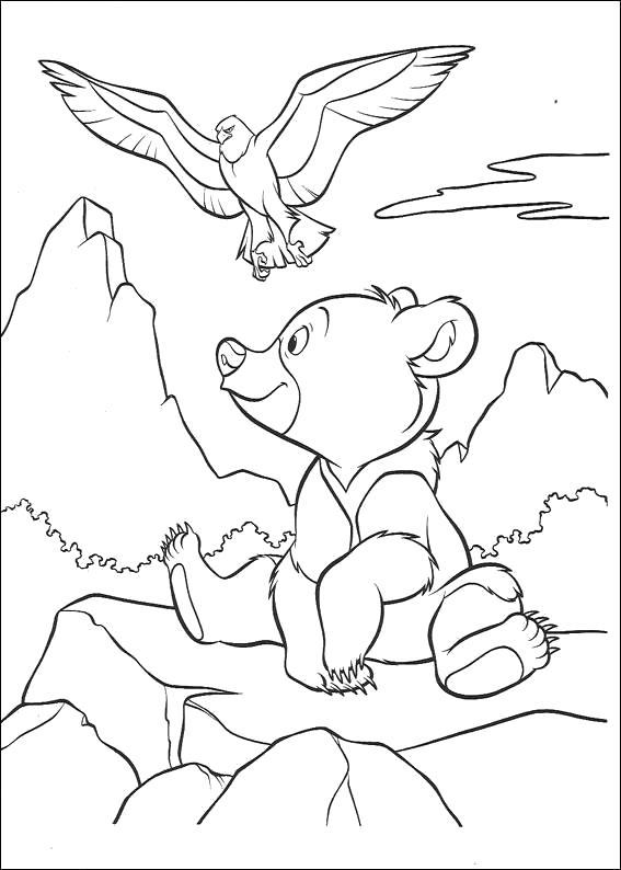 Раскраска братец медвежонок, орел и медвежонок, орел летит, медвежонок сидит. Скачать Братец медвежонок.  Распечатать Братец медвежонок