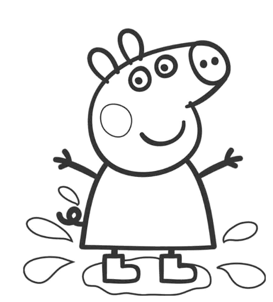 Раскраска Распечатать раскраску Свинка Пеппа в луже. Скачать Свинка Пеппа.  Распечатать Свинка Пеппа