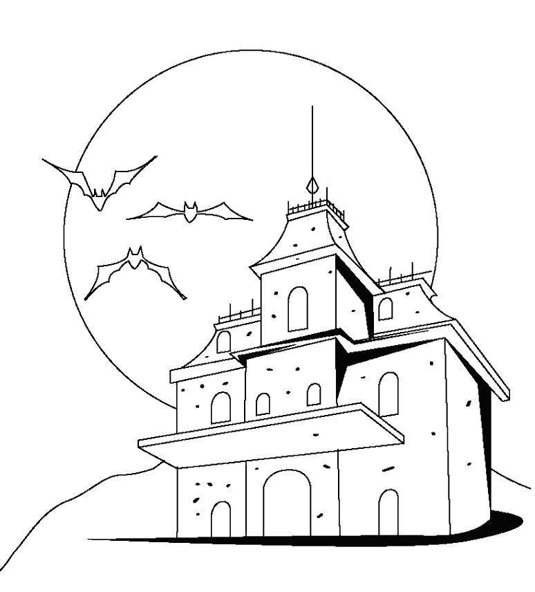Раскраска замок на горе, летучие мыши. Скачать Замок.  Распечатать Замок